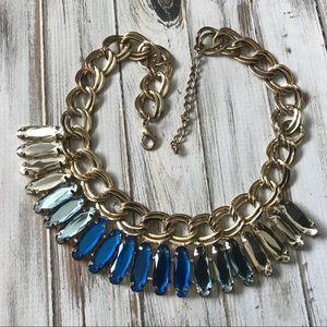 Jewelry - Blue rhinestone statement necklace in gold tone
